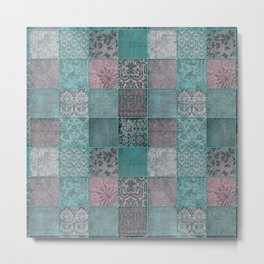 Nostalgic Patchwork Pattern Teal And Pink Metal Print