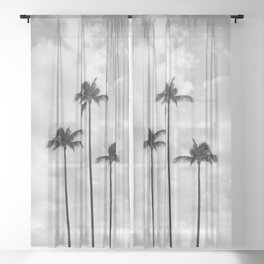 Palm Tree Photography | Black and White | Landscape |Tropical | Travel | Beach | Sky | Clouds  Sheer Curtain