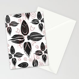 Ottoman tulip flower abstract black white designed pattern Stationery Cards