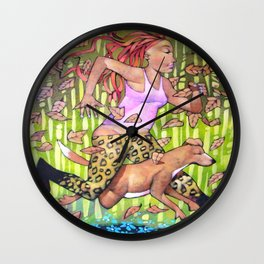 Running woman with dog. Wall Clock