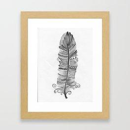 Black and White Feather Zen Framed Art Print