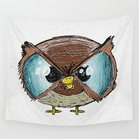owls Wall Tapestries featuring Owls by Conrad