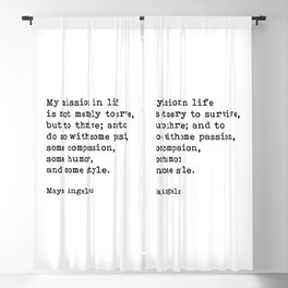My Mission In Life, Maya Angelou, Motivational Quote Blackout Curtain