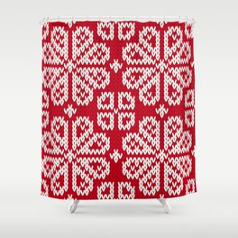 Red Knitted Fabric Christmas Pattern Shower Curtain