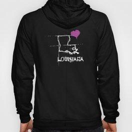 Love Louisiana State Sketch USA Art Design Hoody