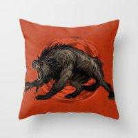 werewolf Throw Pillows featuring werewolf by panthervogel