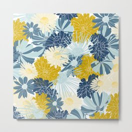Floral Prints, Blue and Yellow, Coloured Prints Metal Print