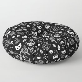 Herb Witch // Black & White Floor Pillow