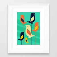mid century Framed Art Prints featuring Mid Century Birds by Sam Osborne