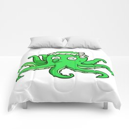 octopus toon cute funny green whistle Comforters