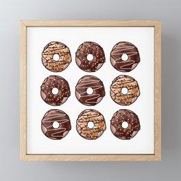 Chocolate Donuts Pattern Framed Mini Art Print