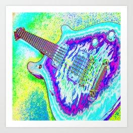Neon Psychedelic Guitar Art Print