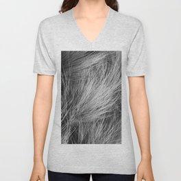Grass Texture In Black And White Unisex V-Neck