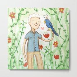 Sir David Attenborough & a Parrot Metal Print