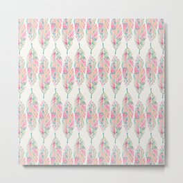 Tribal Feathers Girly Pink Teal Watercolor Pattern Metal Print
