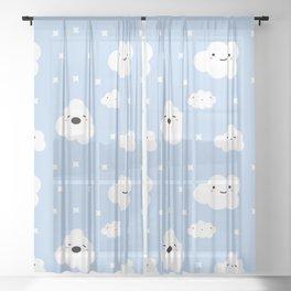 Blue Clouds Sheer Curtain