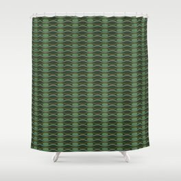 Geometric pattern with waves and pebbles in green Shower Curtain