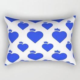 Crown Heart Pattern Blue Rectangular Pillow