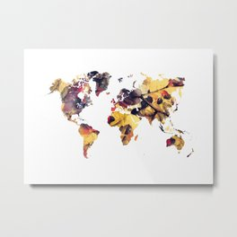 world map 78 yellow Metal Print