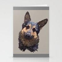 german shepherd Stationery Cards featuring German Shepherd by ArtLovePassion