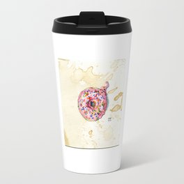 Pink Sprinkle Donut Watercolor on Coffee-Stained Paper Travel Mug