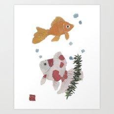 GOLDFISH, Whimsical, Zen Art Print