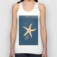 seashell Tank Tops featuring blue seashell by gzm_guvenc