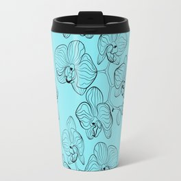 Retro . Orchid flowers on a heavenly blue background . Travel Mug
