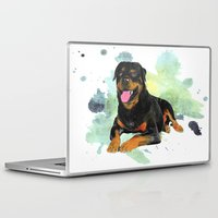 rottweiler Laptop & iPad Skins featuring Rottweiler happy by Cami Landia