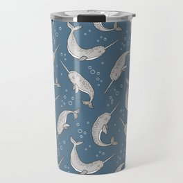 Narwhal  Grey on Navy Blue Travel Mug