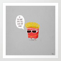 fries Art Prints featuring Douche Fries by Phil Jones