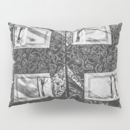 dining table with classic tablecloth in black and white Pillow Sham