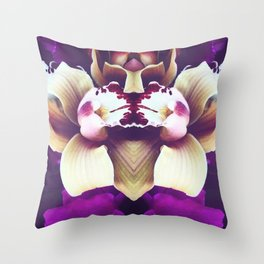 Velvet Purple Orchid Throw Pillow