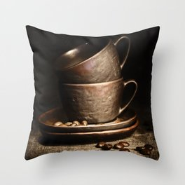 coffee cups and beans on rustic table Throw Pillow