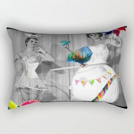 Hooping Homemakers with a blue fish (and other things) Rectangular Pillow
