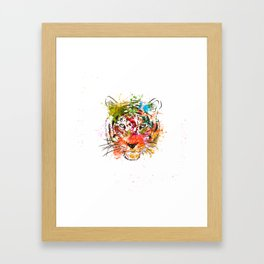 creative color ink splash tiger avatar Framed Art Print