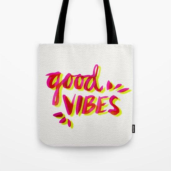 Good Vibes – Pink & Yellow Tote Bag