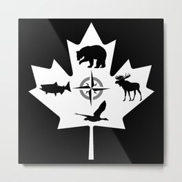 Maple Leaf Canadian Animal Digital Art Metal Print