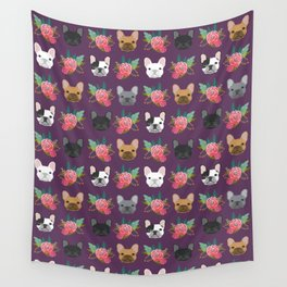 French Bulldog florals cute spring summer dog gifts bright happy frenchie puppy dog portraits  Wall Tapestry
