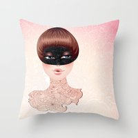 leah flores Throw Pillows featuring Flores by Pete K.