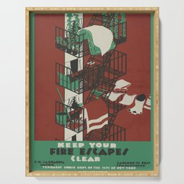 Vintage poster - Keep Your Fire Escapes Clear Serving Tray
