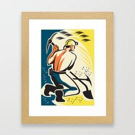 Coal Miner Mining Digging Pick Ax Retro Framed Art Print