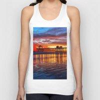 calendars Tank Tops featuring Huntington Beach Sunset   12/2/13 by John Minar Fine Art Photography
