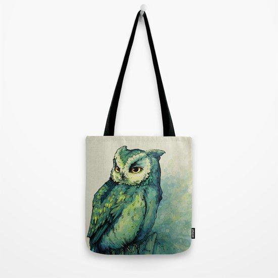 Green Owl Tote Bag