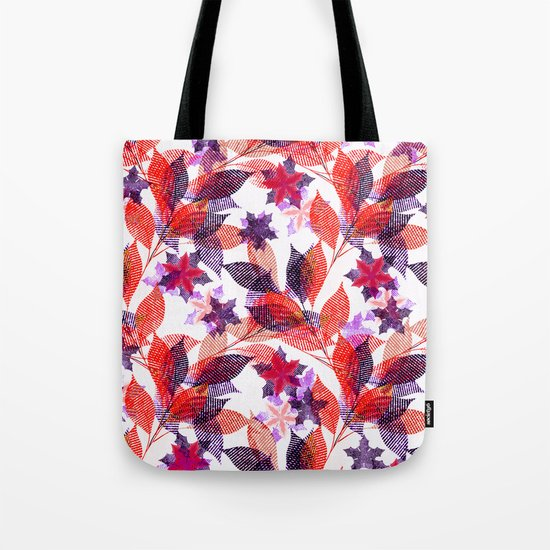 Red, or purple flowers and branches on a white background. Tote Bag