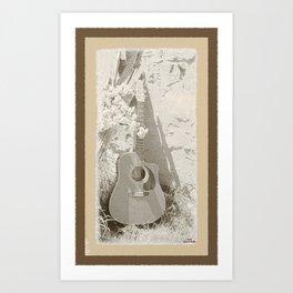 Rustic Guitar Art Print
