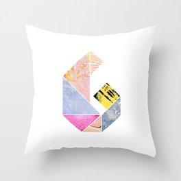 Collaged Tangram Alphabet - G Throw Pillow