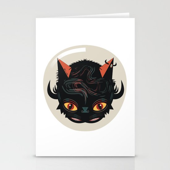 Devil cat Stationery Cards