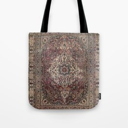 Antique Persia Doroksh Old Century Authentic Dusty Dull Blue Gray Green Vintage Rug Pattern Tote Bag