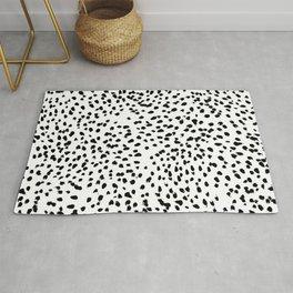 Nadia - Black and White, Animal Print, Dalmatian Spot, Spots, Dots, BW Rug